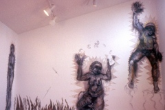 The Good Girls, 2001, charcoal, conte, canvas, wall drawing installation, Gallery 414, 15'x 12'