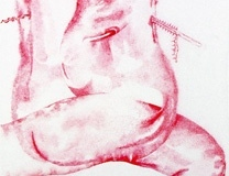 """detail from The Agony and the Ecstasy of the Tijuana Twins, 2003,  micron pen on mylar, 72"""" x 31"""""""