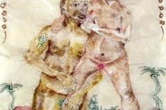"Swallow the Love and Spit out the Seeds, 2004, hand-sewn human hair with watercolor & color pencil, 19"" x 18"""