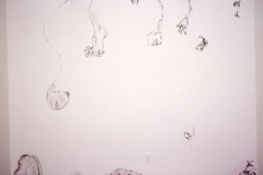 It's All About Me, 2004, conte and pink acrylic paint, wall installation at Gallery 414, 8'x 8'