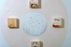 Wall Installation view at Mighty Fine Arts Gallery, 2006, small paintings, conte and acrylic on wall