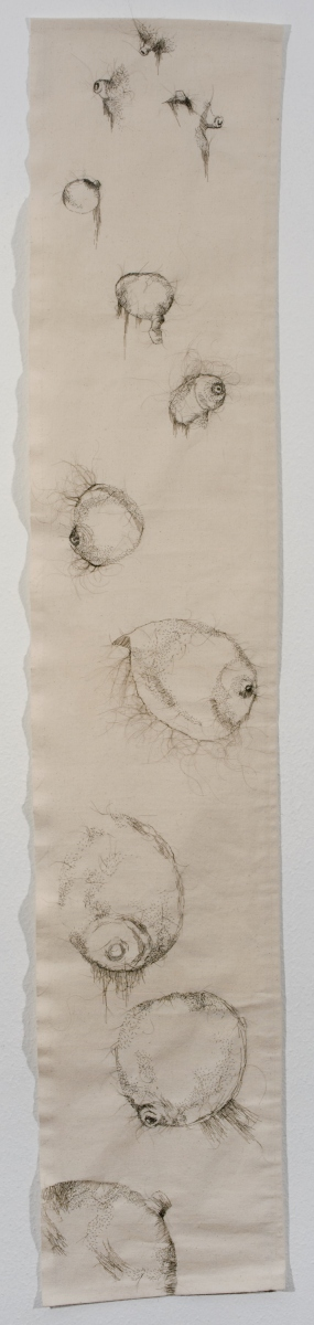 "In Spite of Ourselves, 2010, hand-sewn human hair on canvas, 60"" x 13"""