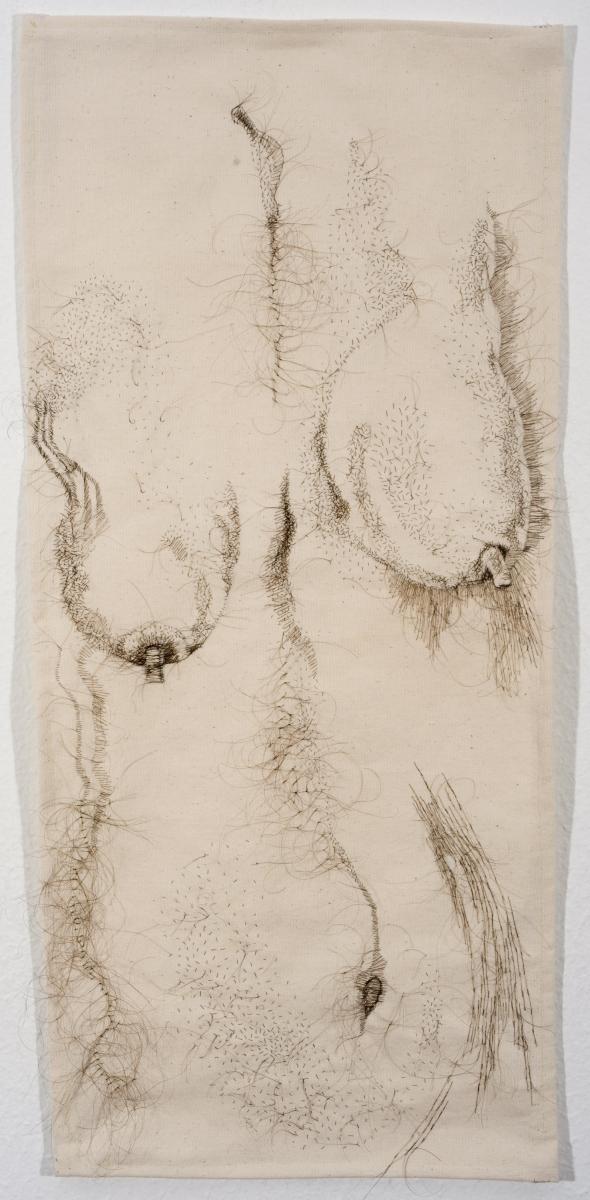 "The Good Body, 2010, hand-sewn human hair on unprimed canvas, 31"" x 16"""