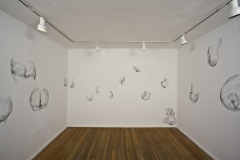 2Kool-2B-4Gotten, 2010, conte on wall, wall drawing installation, Gallery 414, Fort Worth, Texas, three walls in room