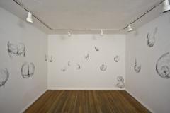 2Kool-2B-4Gotten, 2010, conte on wall, wall drawing installation, Gallery 414, Fort Worth, Texas, three walls in room