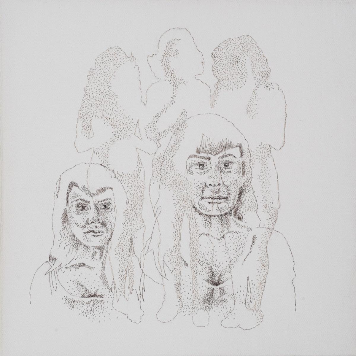 "Jiggle, Jiggle, Jiggle, Jiggle, 2013, hand-sewn human hair on canvas, 13"" x 13"""