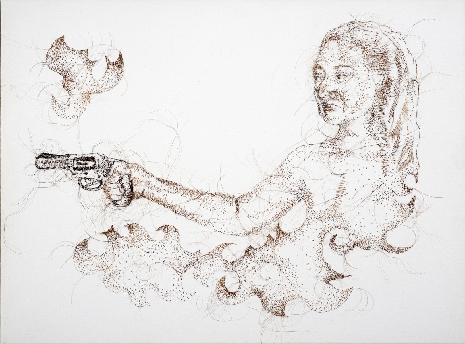 "La Gancha #3, 2011, hand-sewn human hair on canvas, 10"" x 13"""