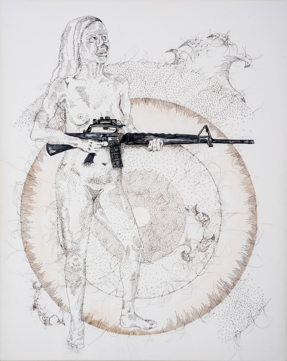 "You Can't Get a Man With a Gun, 2012, hand-sewn human hair with watercolor accent on canvas, 20"" x 16"""