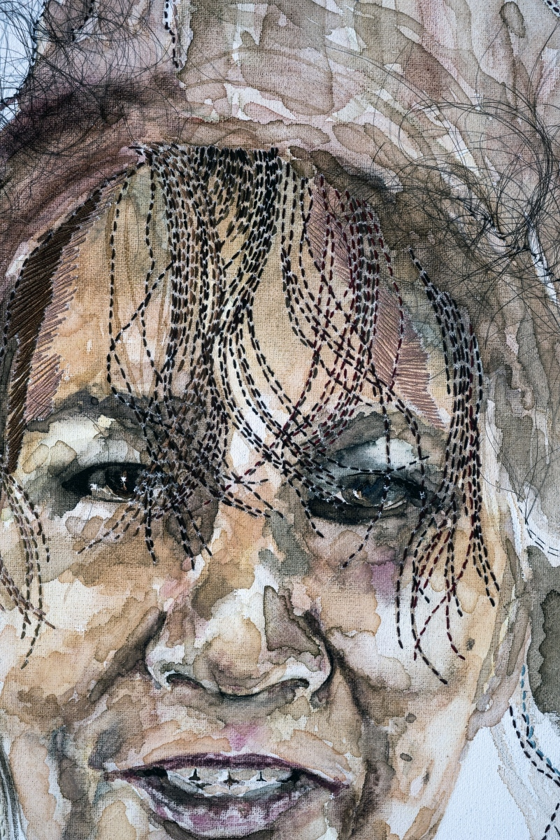 "Detail, Somewhere Between the Beauty & the Buzz, 2017,  hand-sewn human hair, watercolor & hand-sewn thread on canvas, 21"" x 25"""