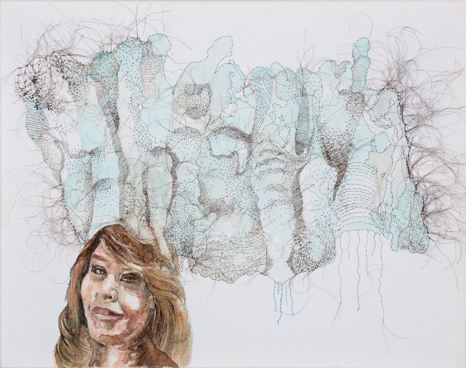 """I'm the Wilderness, I'm the White Noise, 2016, hand-sewn human hair & watercolor on canvas, 12"""" x 15"""""""