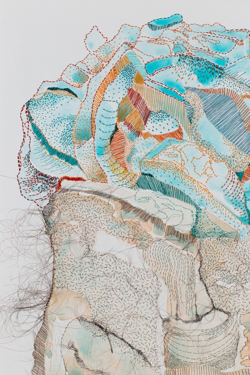 "Detail, Carry Something Beautiful detail, 2016, Hand-sewn human hair and thread with watercolor on canvas, 26"" x 19"""