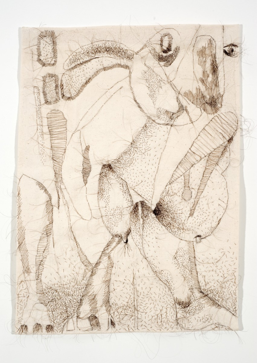 "Lee's Dream, 2008, hand-sewn human hair drawing on unprimed canvas, 19"" x 15"""