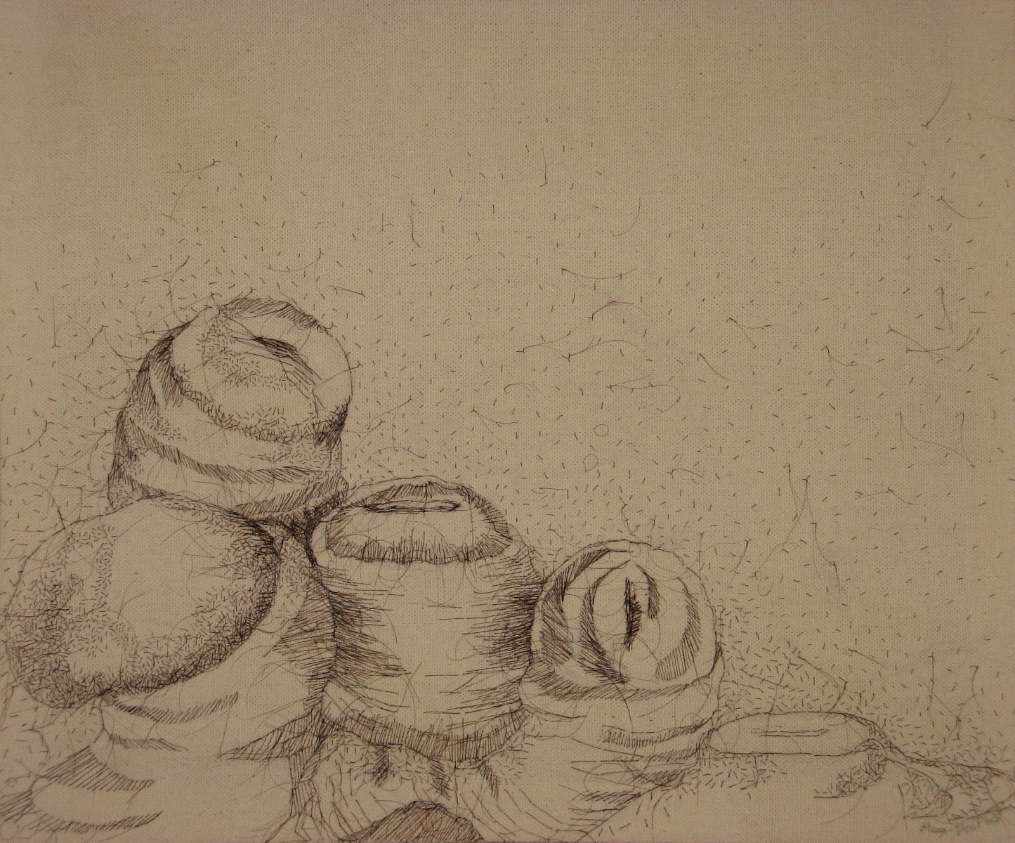 "Real Animal, 2008, hand-sewn human hair on canvas, 17"" x 18"""