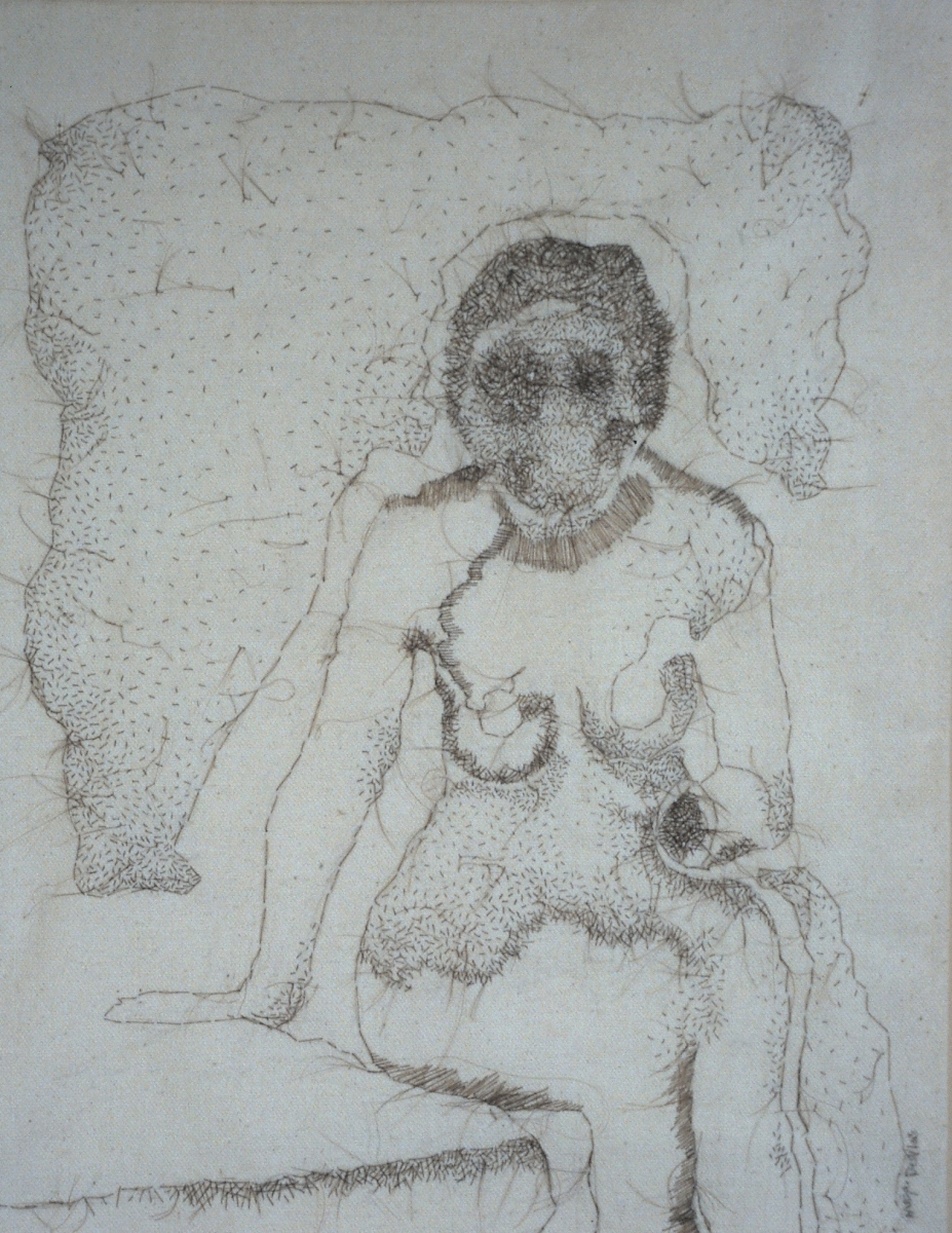 """Woman Under the Influence, 2008, hand-sewn human hair on canvas, 16"""" x 17"""""""