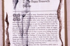 "Desperate Housewife, 2006, hand-sewn human hair & graphite on book page from Betty Friedan's Feminine Mystique, 11"" x 8.5"""