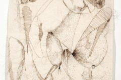 """Lee's Dream, 2008, hand-sewn human hair drawing on unprimed canvas, 19"""" x 15"""""""