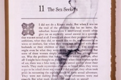 "Sex Seekers, 2007, hand-sewn human hair & graphite on book page from Betty Friedan's Feminine Mystique, 11"" x 8.5"""