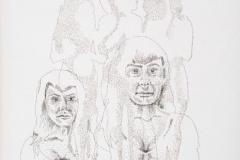 """Jiggle, Jiggle, Jiggle, 2013, hand-sewn human hair on canvas, 13"""" x 13"""""""