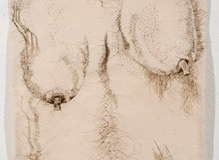 "The Good Body, 2010, hand-sewn human hair on unprimed canvas, 31"" x 16"""