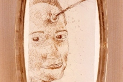 """You Need Another Lover Like You Need a Hole in Your Head, 2004, hand-sewn human hair on mylar in 3-layer resin, 9"""" x 7"""""""