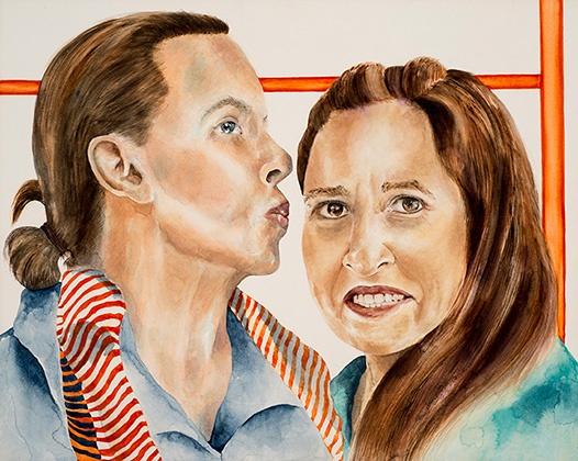 "I'm Just Waiting on a Friend, 2015, watercolor on aquaboard, 20"" x 16"""