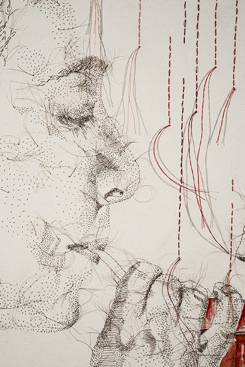 """Detail, One Bourbon, One Scotch, One Beer, 2015, hand-sewn human hair with thread and watercolor accent, 31"""" x 25"""""""