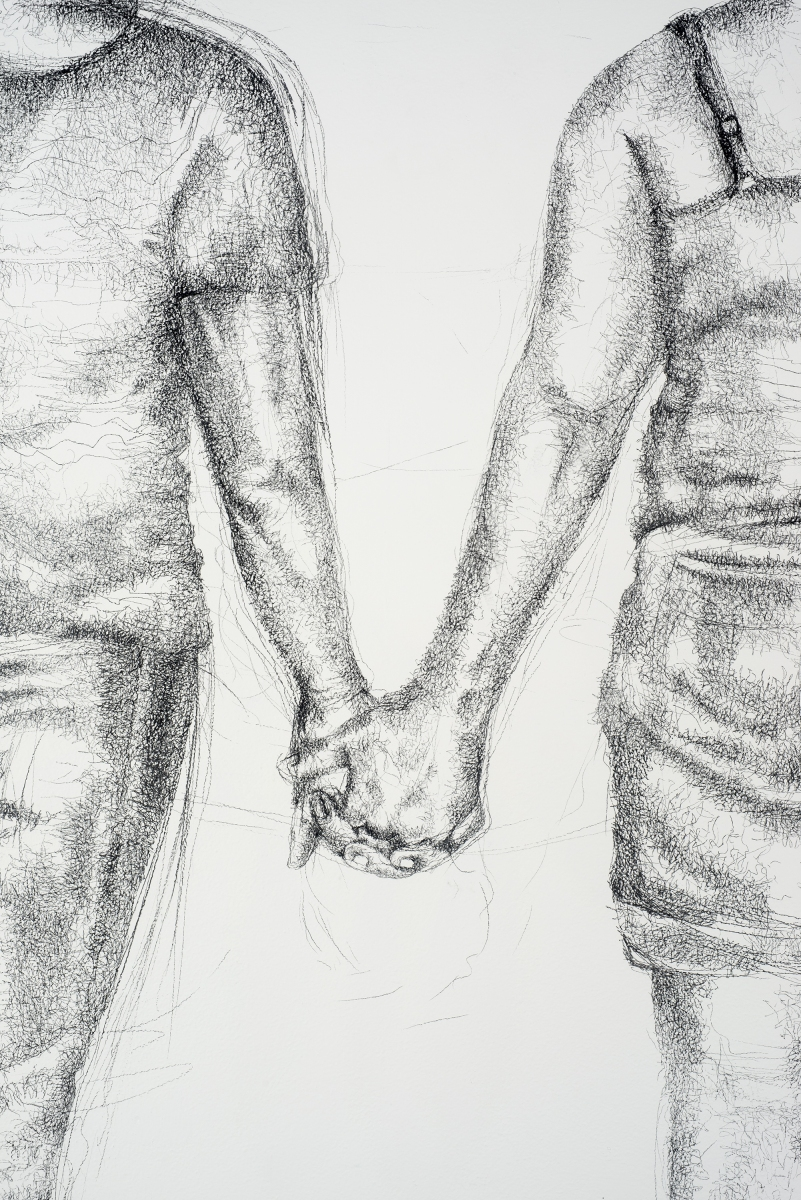 Detail, Two Women Walk into a Bar, 2004, conte on wall, wall drawing installation at El Centro College, 9' x 12'
