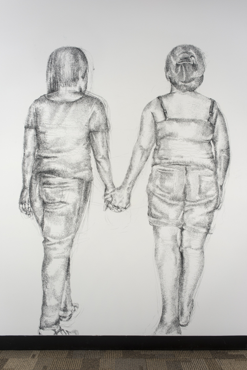 Two Women Walk into a Bar, 2004, conte on wall, wall drawing installation at El Centro College, 9' x 12'