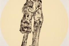 "Detail, Hug Me Two Times, Girl, 2014, liquid graphite on vinyl applique, 13"" circles, installation dimensions vary."