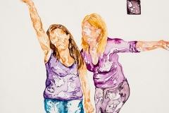 "Square Dance #2, 2014, watercolor on aquaboard, 5"" x 5"""