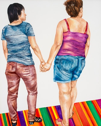 "Two Women Walk Into a Bar, 2014, watercolor on aquaboard, 20"" x 16"""
