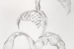 """Detail, Herstory, 2020, conte on wall, wall drawing installation, San Juan College, March 2020, 84"""" x 48"""""""