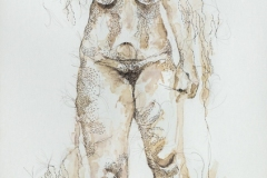 """Groundswell #14, 2020, watercolor and hand-sewn human hair on primed canvas, 24"""" x 12"""""""