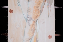 """Jane Marches #1, 2020, hand-sewn human hair, watercolor washes, fabric, thread & appliques on unprimed & unstretched canvas, 60"""" x 36"""""""