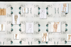 Groundswell, 2020-21, installation with specialty fabric and 15 artworks on canvas and board (these are unframed), 4' x 12'